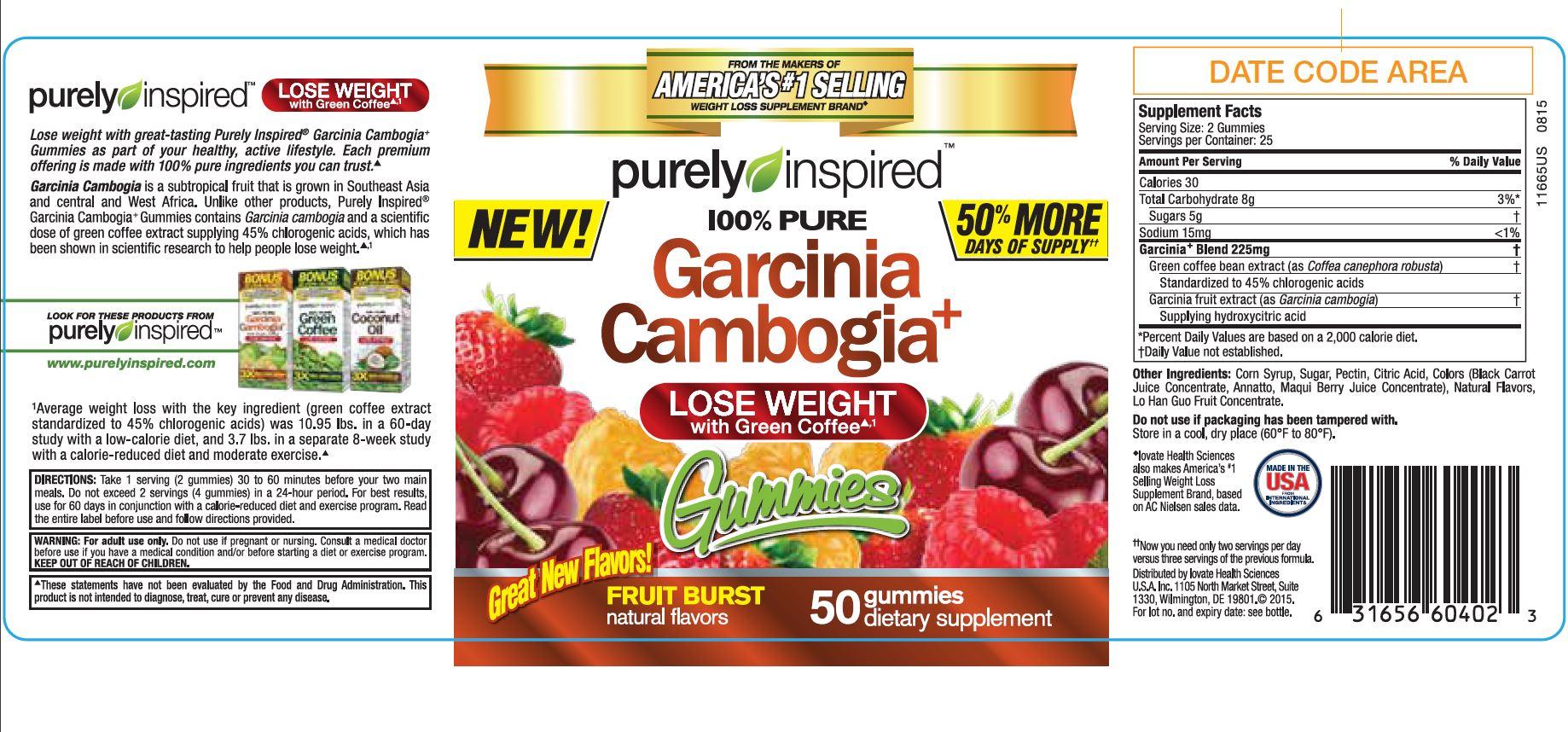 Purely Inspired Garcinia Cambogia Fruit Burst Gummies 100 Count
